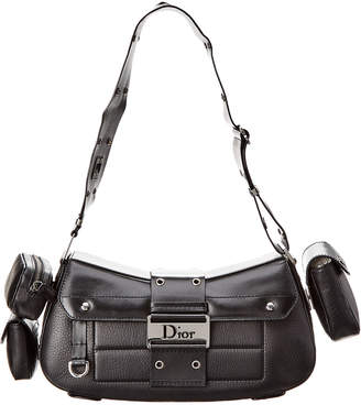 Christian Dior Black Leather Street Chic Shoulder Bag