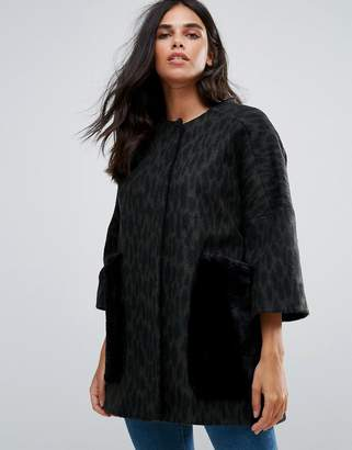 Helene Berman Wool Blend Kimono Coat with Faux Fur Pockets