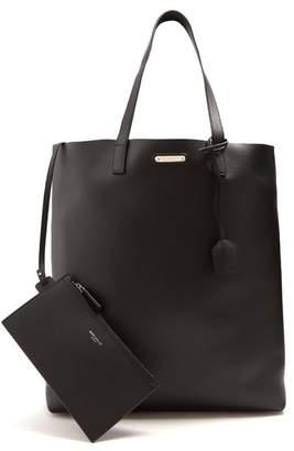 Saint Laurent - Logo Plaque Leather Tote - Mens - Black