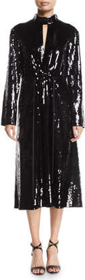 Tibi Avril Sequin-Front Long-Sleeve Midi Dress