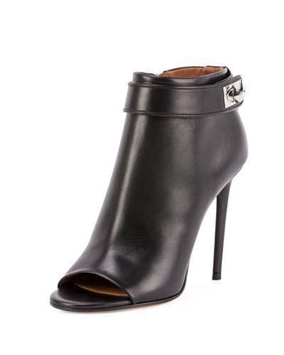 Givenchy Shark-Lock Open-Toe Bootie, Black