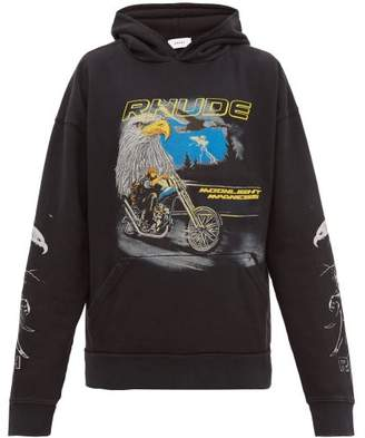 Rhude Eagle Print Cotton Hooded Sweatshirt - Mens - Black Multi