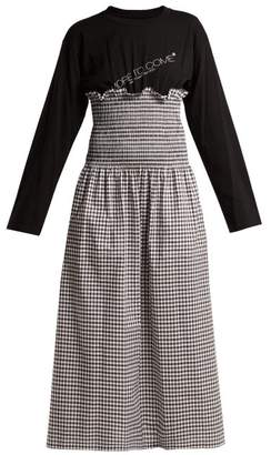 MM6 MAISON MARGIELA Contrast Panel Gingham Cotton Dress - Womens - Black Multi