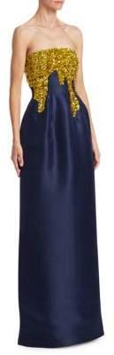 Oscar de la Renta Strapless Silk Column Gown
