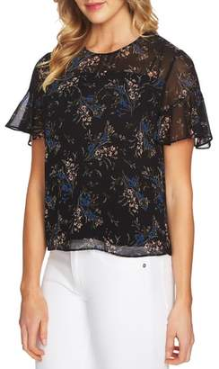 CeCe Dancing Bouquet Flutter Sleeve Blouse