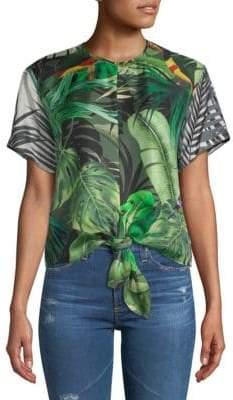 Max Mara Afro Printed Tie-Front Silk Top