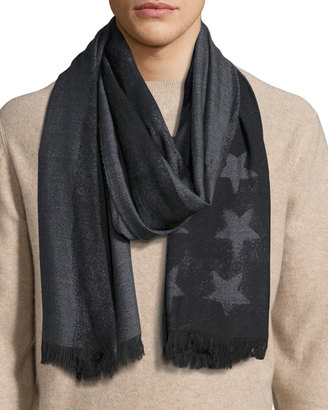 John Varvatos Flag-Print Wool Scarf, Ebony $70 thestylecure.com