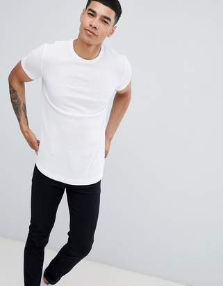 Asos Design DESIGN longline waffle t-shirt with curve hem in white