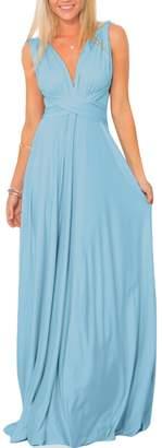 XAS Women Multi Way Wrap Convertible Transformer Infinity Bridesmaid Maxi Dress