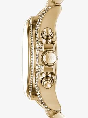 Michael Kors Mini Bradshaw Pave Gold-Tone Watch