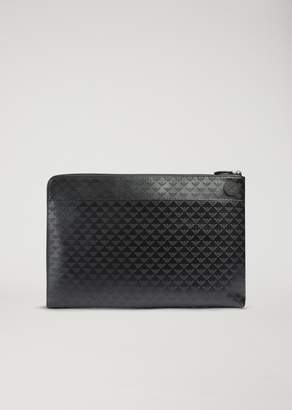 Emporio Armani Document Holder In Leather With All-Over Logo