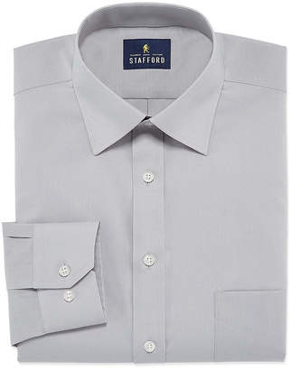 STAFFORD Stafford Travel Easy-Care Stretch Broadcloth Mens Point Collar Long Sleeve Wrinkle Free Stretch Dress Shirt