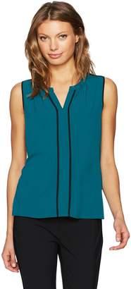 Calvin Klein Women's Sleeveless Woven V-Neck Top with Piping