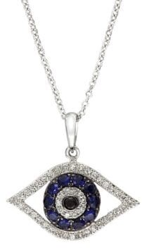 Effy Royale Bleu 14K White Gold, Diamond & Sapphire Evil Eye Necklace