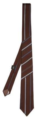 Fendi Striped Silk Tie - Mens - Brown