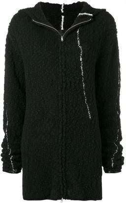 Thom Krom contrast stitch zip hoodie