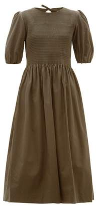Molly Goddard Rory Smocked Puff Sleeve Cotton Midi Dress - Womens - Khaki
