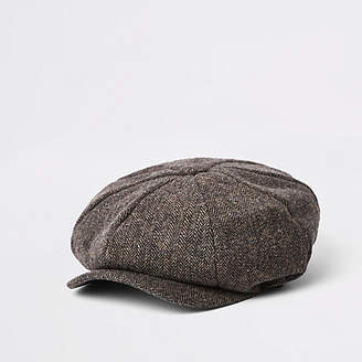 River Island Brown herringbone baker boy cap