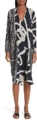 Zero Maria Cornejo Greige Print Stretch Silk Dress