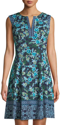 Maggy London Vine and Flower-Print Fit-and-Flare Dress