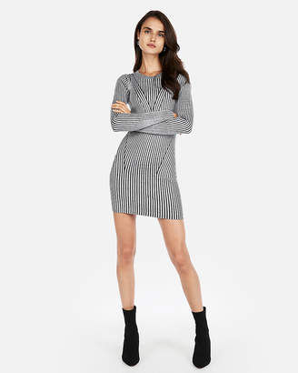 Express Solid Fitted Ribbed Sweater Dress