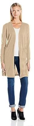 Sag Harbor Women's Long Sleeve Open Carcoat Duster Cardigan Cashmerlon Sweater