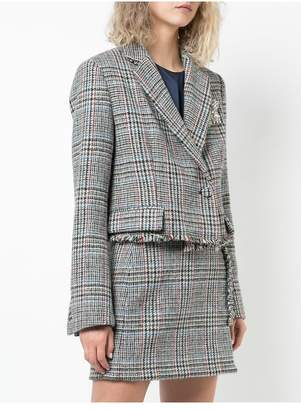 ADAM by Adam Lippes Scottish Tweed Boxy Cropped Blazer With Crystal Brooch