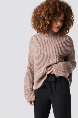 Na Kd Trend Boxy High Neck Knitted Sweater Dusty Pink