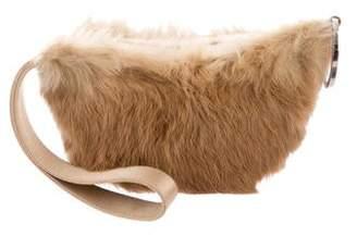 Gucci Leather-Trimmed Fur Wristlet