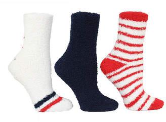 Steve Madden Women 3 Pack Star and Thin Stripe Cozy Socks, Online Only