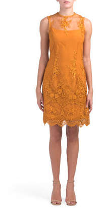 Sleeveless Embroidered Lace Dress
