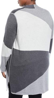 Neiman Marcus Plus Colorblock Long Open-Front Cardigan