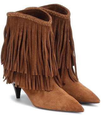 c3fb4d151f92c Saint Laurent Charlotte fringed suede ankle boots