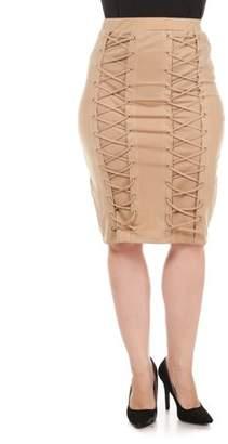 K Glam Women's Plus Lace Up Pencil Skirt