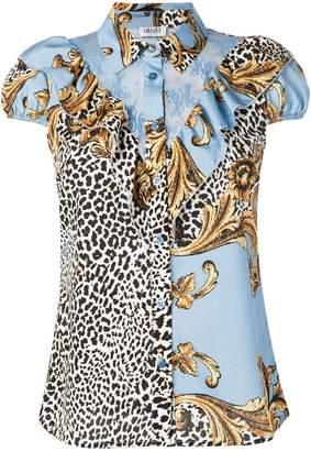 ef513fa3346d3a Liu Jo blue and gold frame blouse