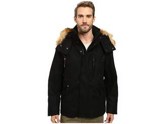 Andrew Marc Fremont Pressed Wool Puffer Bomber w/ Removable Hood Men's Coat