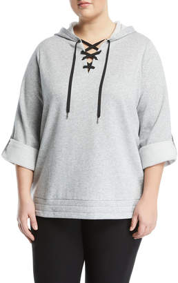 MICHAEL Michael Kors Lace-Up Front Roll-Sleeve Hoodie, Plus Size