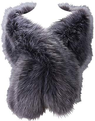 RUNHENG Women's Wedding Faux Fur Shawls and Wraps, Fur Stole and Scarves.