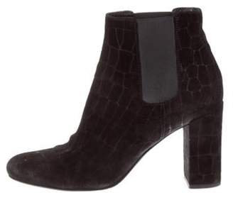 Saint Laurent Embossed Round-Toe Ankle Boots Black Embossed Round-Toe Ankle Boots