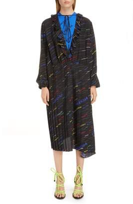 Balenciaga Stripe Logo Print Ruffle Dress