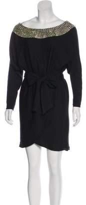 Halston Embellished Wool Dress