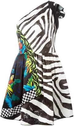 Marc Jacobs multi-pattern one shoulder dress