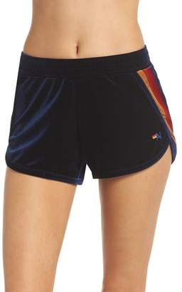 Aviator Nation 5-Stripe Velvet Running Shorts