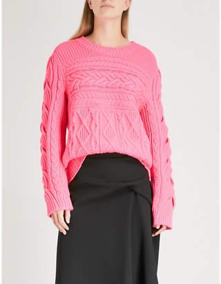 Burberry Tolman Aran-knit wool and cashmere-blend jumper