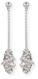 David Yurman Sterling Silver Crossover Chain Drop Earrings with Diamonds $1,200 thestylecure.com