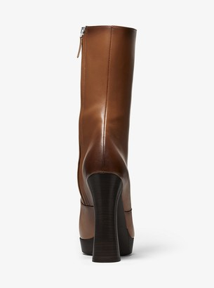 Michael Kors Emmy Burnished Calf Leather Platform Boot