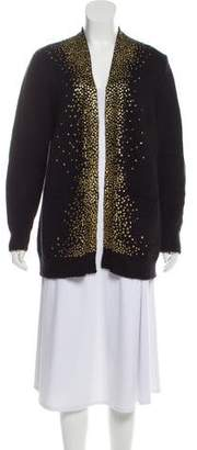 Saint Laurent Wool and Mohair-Blend Embellished Cardigan
