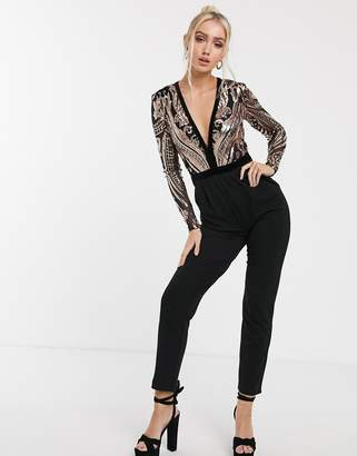 Goddiva plunge neck sequin top jumpsuit in black and gold