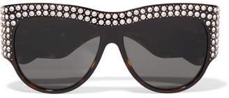 Gucci Embellished D-frame Tortoiseshell Acetate Sunglasses - Black