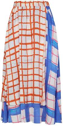 Mira Mikati Grid Print Wrap Skirt